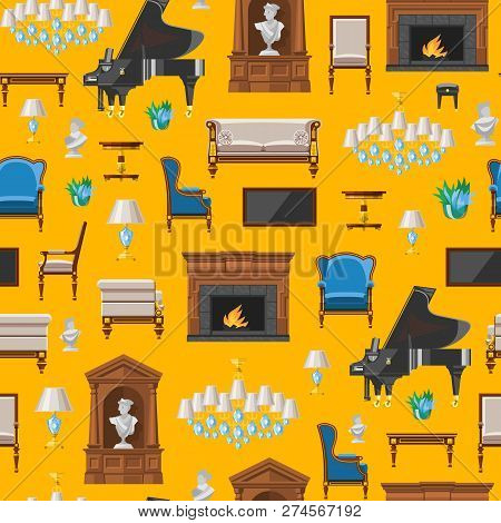 Furniture Seamless Pattern Vector Furnishings Design Of Living-room Backdrop Furnished Interior In A