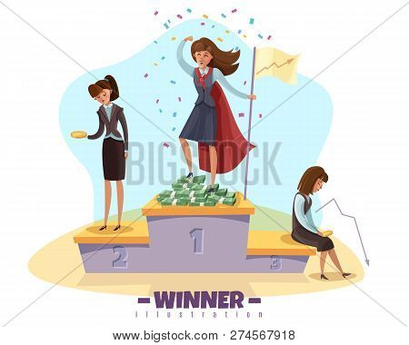 Business Winner Loser Background With Businesswomen Female Doodle Style Characters On Winners Poduim