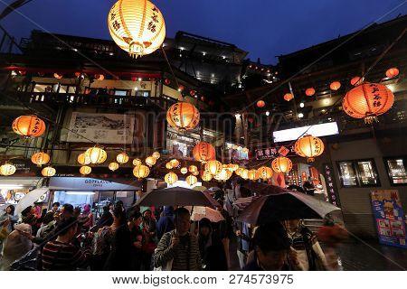 Jiufen, Taiwan - November 23, 2018: People Visit Heritage Old Town Of Jiufen Located In Ruifang Dist
