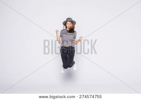 Summer Woman Jumping Of Joy Excited Isolated On White Background.