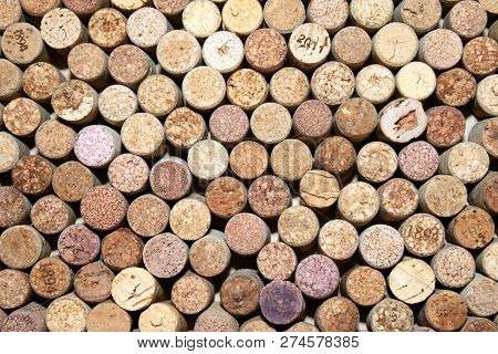 Old Wine Corks From Red Wine Among Used Wine Corks From White Wine And From Sparkling Wine As Abstra