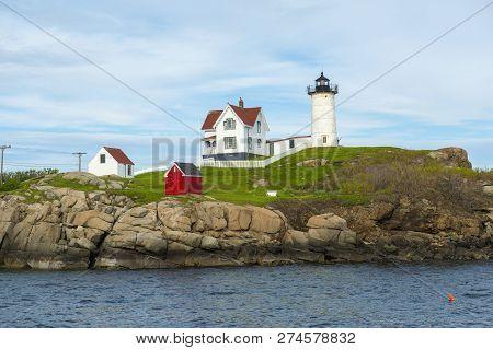 Cape Neddick Lighthouse (nubble Lighthouse) At Old York Village, Maine, Usa.