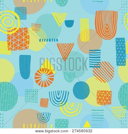Abstract Shapes Seamless Vector Pattern. Triangles, Circles, Rectangles, Half Circles Orange, Yellow