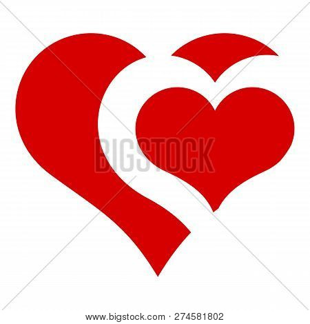 Heart In Heart Icon. Simple Illustration Of Heart In Heart Icon For Web Design Isolated On White Bac