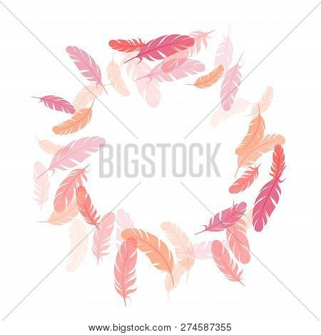 Carnival Pink Flamingo Feathers Vector Background. Plumage Bohemian Fashion Shower Decor. Smooth Plu