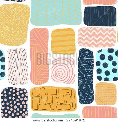 Seamless Pattern Abstract Blocks. Square And Rectangle Doodle Shapes With Different Textures. Mosaik