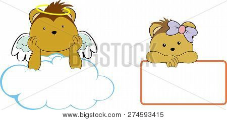 Cute Little Angel And Girl Porcupine Baby Cartoon Copyspace In Vector Format