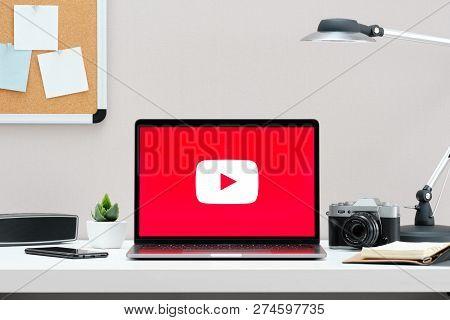 Russia, Tyumen - December 18, 2018: Youtube Logo On The Screen Macbook. Youtube Is The Popular Websi