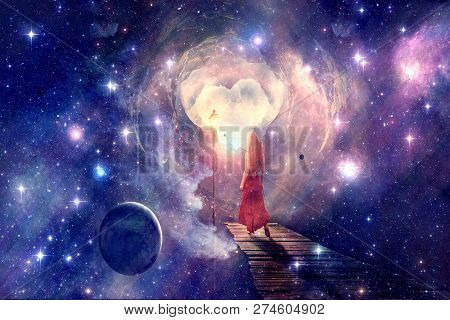 Artistic Young Woman Standing On A Doorway And Exploring A Galactic, Other Dimensional Possible Worl