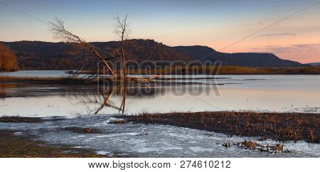 Dawn View Of The Mississippi River From Iowa