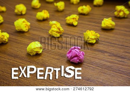 Conceptual Hand Writing Showing Expertise. Business Photo Showcasing Expert Skill Or Knowledge In Pa