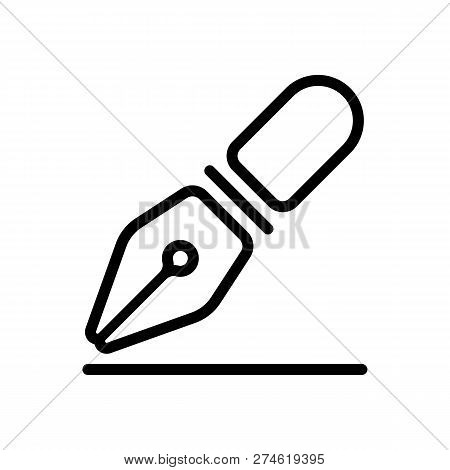 Ink Pen, Simple Linear Outline Icon. Black Icon On White Background