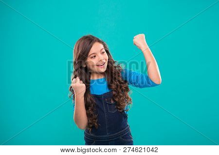 Achieve Success. Kid Cheerful Celebrate Victory. Girl Cute Child Long Curly Hair Happy Smiling. Chil