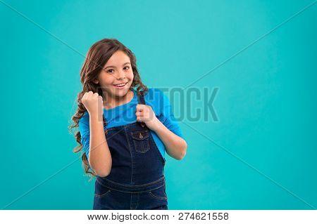 Child Psychology And Development. Happy Winner. Successful Happy Kid. Achieve Success. Kid Cheerful
