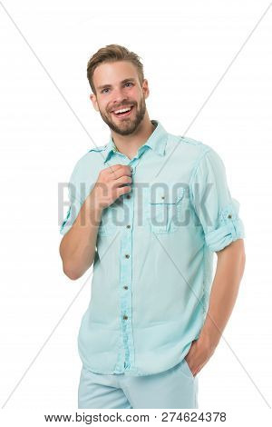 It Is Hot Here. Man Handsome Bearded Guy Smiling On White Background Isolated. Guy Cheerful Smile Ma