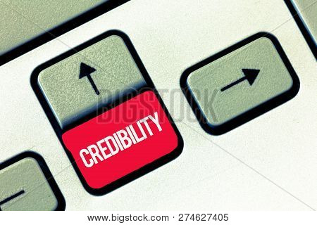 Handwriting text writing Credibility. Concept meaning Quality of being convincing trusted credible and believed in poster
