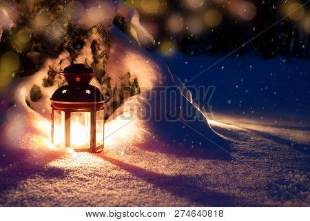 Christmas Eve In The Woods. Lantern And Tree. New Year's Eve In The Woods