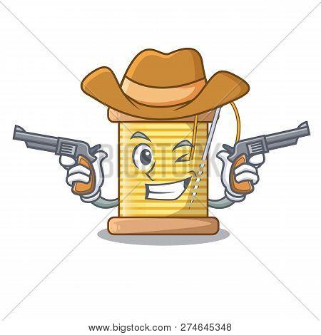 Cowboy bobbin with needle thread spool cartoon poster