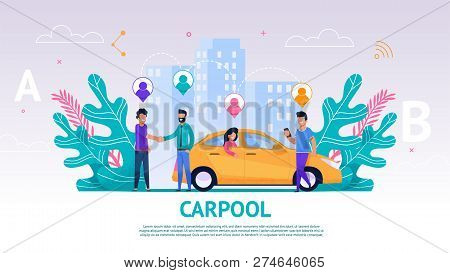 Banner Illustration Group People Travel Companion. Vector Image Carpool. Men Greet. Guy Driver Greet