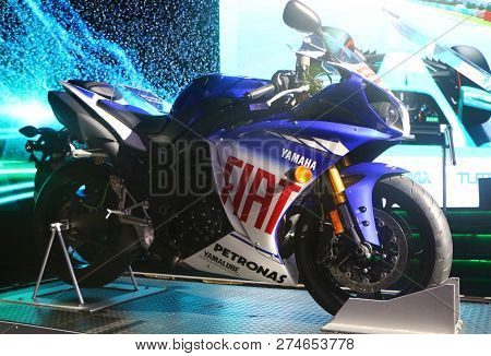 Kuala Lumpur, Malaysia-december 1,2018 :the Yamaha Fiat No 46 Bike, Ridden By Valentino Rossi