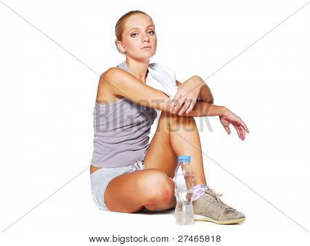exercise woman with water after workout