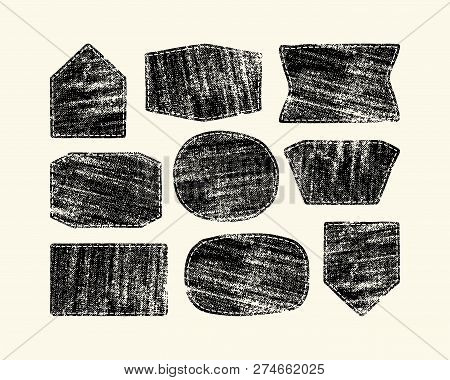 Set Of Patch Silhouettes For Denim Clothing. Design With Texture Of Burlap. Black Print On White Bac