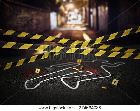 Crime Scene Of A Murder Case. 3d Illustration.