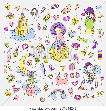 Colored Set Of Teenage Girl Icons, Cute Cartoon Teen Objects, Fun Stickers Design Vector In Teenager