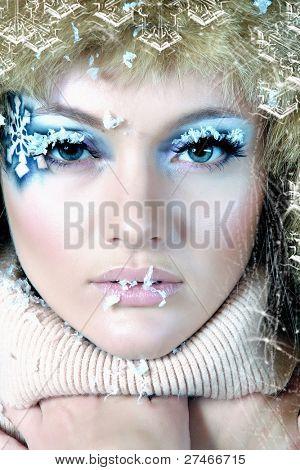 Frozen. Close-up portrait of chilled female face
