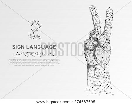 Origami Sign Language Number Two Gesture, Fingers Pointing Up, Hand In Peace Or Victory Symbol, Poly