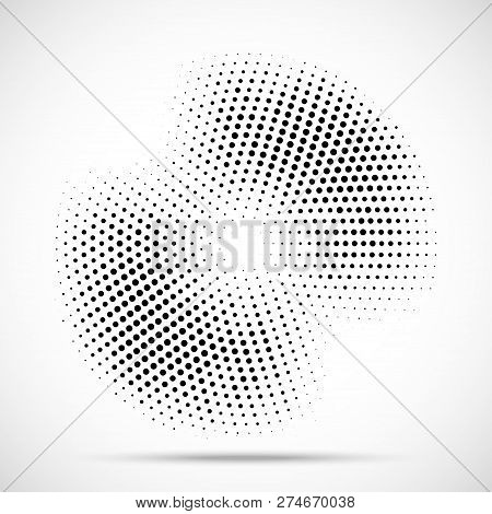 Halftone Circle Frame Dotted Background. Round Border Icon Using Halftone Circle Dots Raster Texture