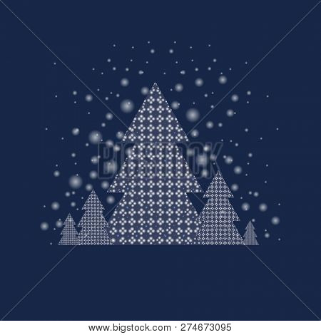 Blue Xmas Postcard With Firtree