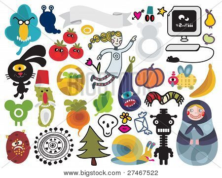 Mix of different vector images and icons. vol.22