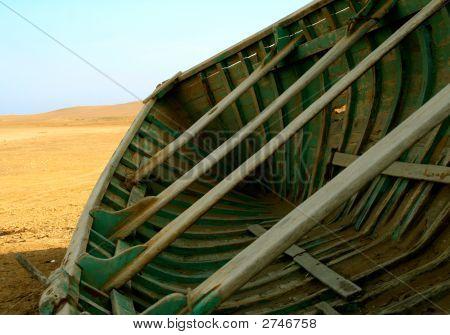 Boat In The Desert Of Peru