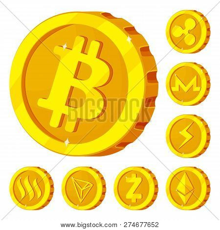 Isolated Object Of Cryptocurrency And Coin Sign. Set Of Cryptocurrency And Crypto Vector Icon For St