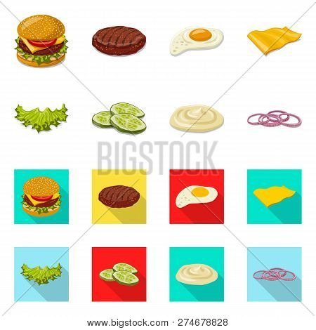 Vector Illustration Of Burger And Sandwich Icon. Collection Of Burger And Slice Stock Vector Illustr