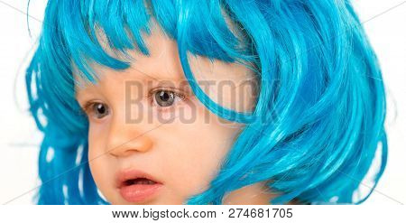 Beauty look hairstyle for cosplay party. Small child wear blue wig hair. Small kid in fancy wig hairstyle. Adorable little child in fashion wig. Cute baby with long blue hair. I love changing my hair. poster