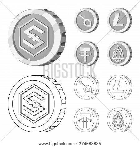 Vector Design Of Cryptocurrency And Coin Symbol. Set Of Cryptocurrency And Crypto Stock Symbol For W