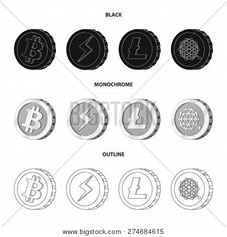 Isolated Object Of Cryptocurrency And Coin Icon. Set Of Cryptocurrency And Crypto Stock Vector Illus