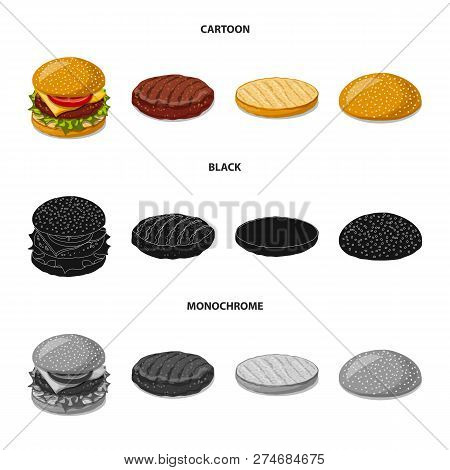 Vector Design Of Burger And Sandwich Symbol. Set Of Burger And Slice Vector Icon For Stock.