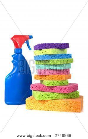 Spray Bottle And Sponges