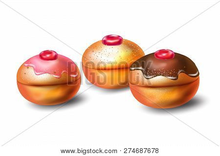 Happy Hanukkah Greeting Card With Traditional Food For Jewish Holiday Hanuka Festival Of Lights, Don