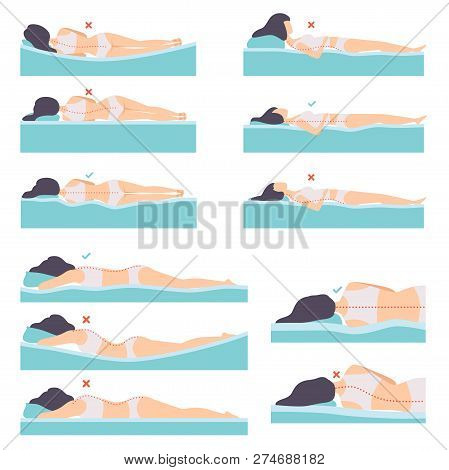 Woman Lying In Various Poses Set, Side View, Correct And Incorrect Sleeping Posture For Neck And Spi