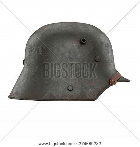 German Helmet Stahlhelm M1916 Of World War I, Used German Troops Ww1. Side View. Authentic Soldier E