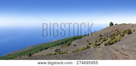 El Hierro - View From The Western Camino De La Virgen Over The Hillside Of El Julan To The Lighthous
