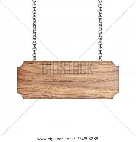 Wooden Sign Hanging On A Chain Isolated On White; Tag, Wooden, Grain, Tree, Decoration, Rough, Strin