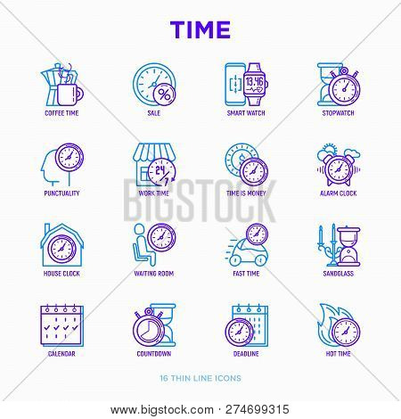 Time Thin Line Icons Set: Coffee Time, Punctuality, Stopwatch, Smart Watch, Hot Time, Sale, Deadline
