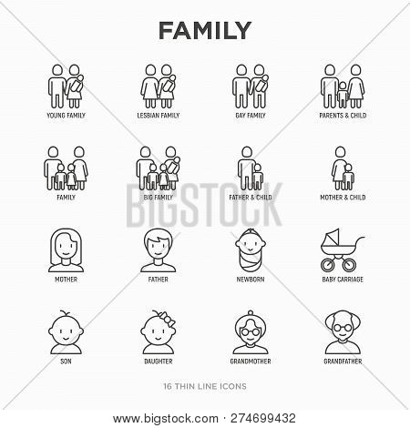 Family Thin Line Icons Set: Mother, Father, Newborn, Son, Daughter, Lesbian, Gay, Single Mother And