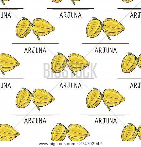 Arjuna. Fruit. Text. Seamless, Texture, Background, Wallpaper. Sketch. Color