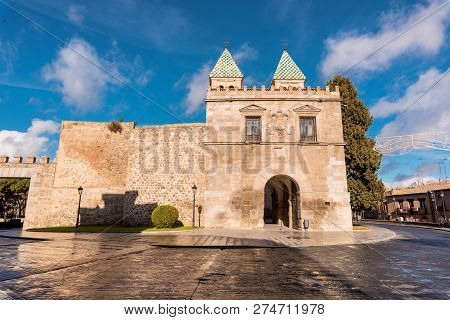 Toledo, Spain Famous Monument Puerta De Bisagra Gate